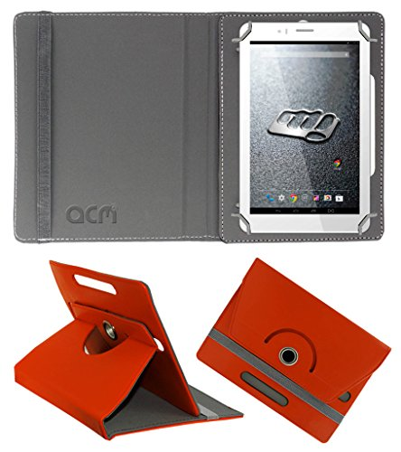 ACM Rotating 360° Leather Flip Case for Micromax Canvas Tab P470 Cover Stand Orange