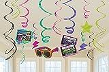 Amscan 12 Wirbel Deckenhänger für 80er Jahre Bad Taste Motto Party Deko 80s Geburtstag