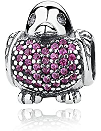 cde8c6fef Lily Jewelry Red Robin With Red And Clear CZ 925 Sterling Silver Bead Fits  Pandora European