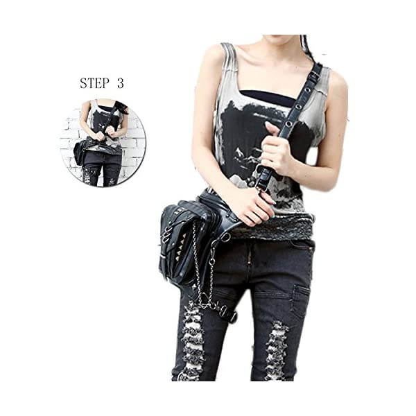 Retro Women MEN Gothic Rock Leather Steampunk Bag Steam Punk Retro Rock Gothic Goth Shoulder Waist Bags Packs Victorian Style for Women Men + leg Thigh Holster Bag DM201605 100% Brand New and High Quality. Adjustable belt design for better fitting body Material : Leather ( PU Leather) Durable material and workmanship to withstand daily wear & tear. 6