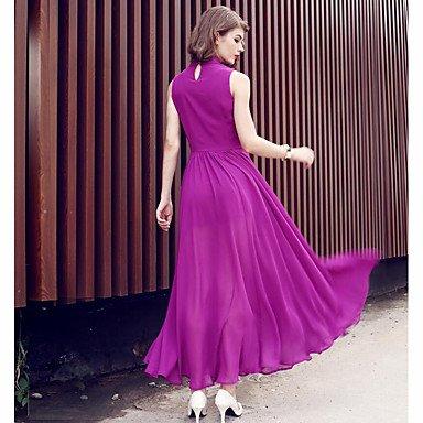 PU&PU Robe Aux femmes Mousseline de Soie / Swing Chic de Rue,Couleur Pleine Col Ras du Cou Maxi Polyester FUCHSIA-S