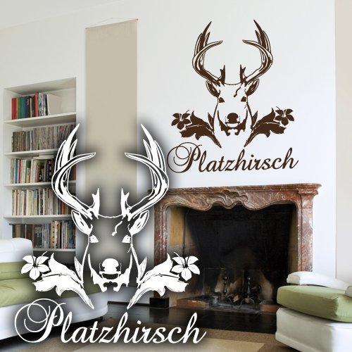 """Wandkings Wandtattoo """"Platzhirsch"""" 58 x 65 cm braun - erhältlich in 33 Farben"""