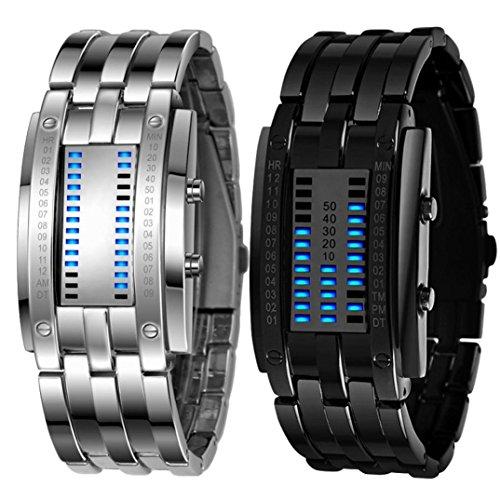 Xinantime Relojes Hombre,Xinan Acero Inoxidable Relojes Deportivos LED Digital Pulsera