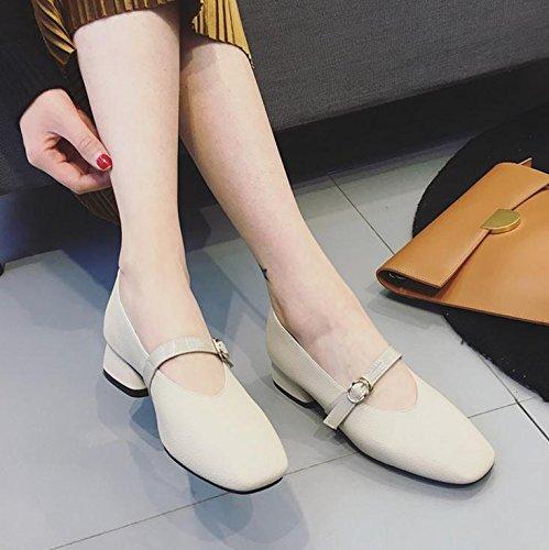 Square Dans Le Documentaire Chaussures Rétro Correspond Mot Boucle Avec Grand - Mère Grossiers Coréen De Chaussures White