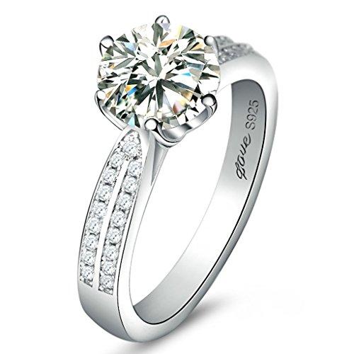 Bishilin Anello Argento Sterling 925 Rotondo Cubic Zircon Laboratorio Creato Diamanti Anelli Anelli Amicizia Ragazze per Donna Misura 18,5
