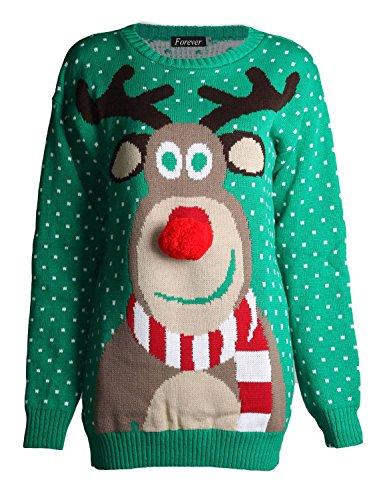 Fast Fashion Damen Unisex Rudolph Drucken 3D Nase Pom Pom Weihnachts (Nase Rudolph)