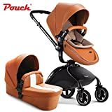 Luxury PU Leather 2 in 1 Baby Stroller (Pushchair + Carrycot) , Highview, Bidirectional, Folding Pram Buggys, 4 Wheels Baby Carriage (Yellow) immagine