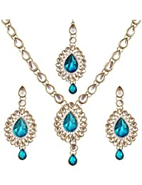 Spangel Fashion Navratri Special Traditional Gold Plated Sky Blue Stone Necklace Set With Earring For Women And...