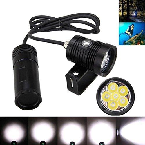 LCLrute Hohe Qualität Unterwasser 150m 10000lm 6x L2 LED Tauchen Tauch Taschenlampe Licht + Halterung (Schwarz) -