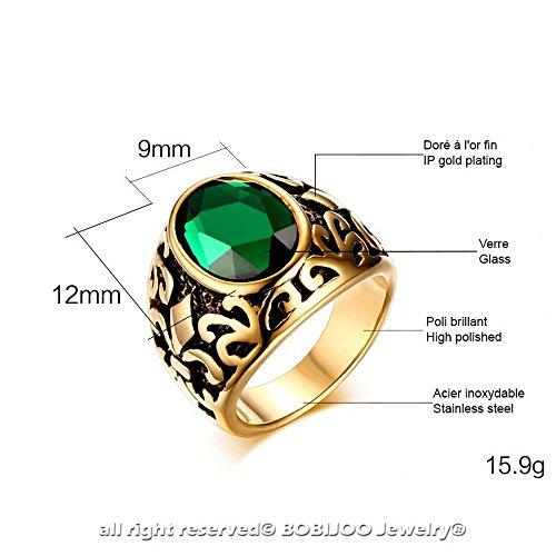 BOBIJOO Jewelry - Chevalière Bague Doré Or Fin Noir Fleur de Lys Rouge Noir Vert Acier Inoxydable - 60 (9 US), Vert Vert