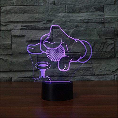 3D Optical Illusion Lampe LED Nachtlichter,KINGCOO 7 Farben ändern Touch LED Lampe Romantische Atmosphäre für Haus Dekoration Hochzeit Geburtstag Weihnachten Valentine Geschenk (Golf)
