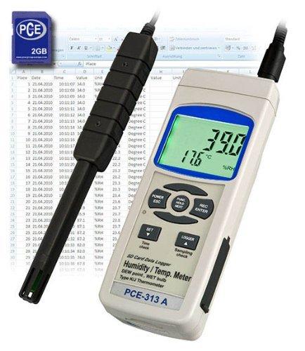 PCE Instruments PCE-313A Hygrometer / Datenlogger / Hygro-Meter / Temperaturmessgerät / Feuchtemessgerät / SD-Speicherkarte für den professionellen Einsatz in der Klima-Messtechnik
