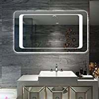 800 x 600 mm Rectangular Modern Illuminated Bathroom Mirror with Sensor and Demister Pad