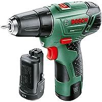 Bosch Taladro atornillador a batería EasyDrill 12-2 (12 V, 2 baterías, cargador, 2 velocidades, Power for all, 2,5 Ah, Maletín, punta de atornillar)