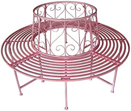 Rundbank Baumbank Gartenbank Rundum Bank 360° Bank aus Schmiedeeisen Ø 161 cm Farbauswahl, Farbe:Rosa