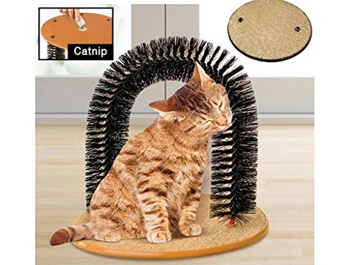 Cat-Kitten-Massaging-Scratching-Scratcher-Pet-Arch-Self-Grooming-Groomer-Soft-Comfortable-Bristles-Scratching-Play-Nip-Animal-Luxury-Cute