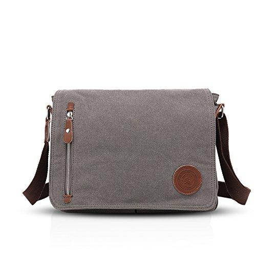Fandare retro messenger bag borsa a tracolla borsa crossbody 14 pollice laptop briefcase uomo donne scuola borsa zainetto schoolbag multifunzione canvas grigio