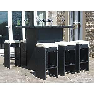 6 sedie in rattan alto tavolo da bar colore nero amazon On tavolo alto amazon