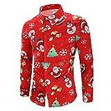 Herren Weihnachten Shirts,❤️Binggong Herren Schneeflocken Weihnachtsmann Candy Gedrucktes Weihnachtshemd Top Bluse