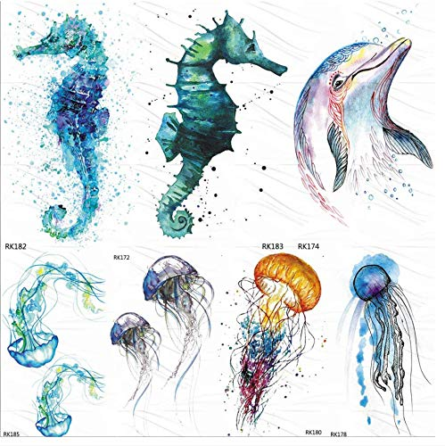 ruofengpuzi Seepferdchen Delfine Ozean Temporäre Tätowierung Aufkleber Aquarell Gefälschte Tätowierung Flash Custom Tattoo Kinder Weiblichen Körper Kunst Arm