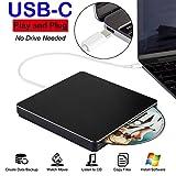Externes DVD-, CD-Laufwerk, USB-C DVD-, CD-Player-Laufwerk, USB-C DVD-, CD-Brenner, SuperDrive für PC/Laptop/Mac/MacBook Air/Pro mit Hochgeschwindigkeits-Datenübertragung für Windows/Vista/7/8/10/Mac OSX schwarz Schwarz  13.8cmX13.8cmX1.6cm