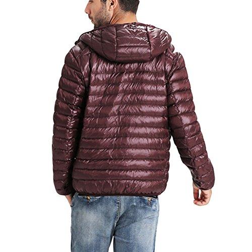 Meijunter Homme Poids léger Chaud Doux Svelte Canard Sous-Vêtement Parka Coats red