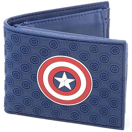 Captain America Wallet Civil War Shield Logo Official Blue Bifold One Size