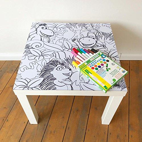 """playmatt Spielmatte für Tisch oder Boden """"Kleiner Drache Kokosnuss Ausmalmatte"""", schadstofffrei, Rutschfest, waschbar, 55 x 55 cm, IKEA Lack Tisch"""