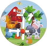 HABA 301696 - Motorikbrett Bauernhof-Welt | Holzspielzeug ab 12 Monaten | Lustiger Schiebespaß mit buntem Bauernhofmotiv