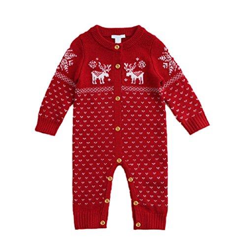 Weihnachten Baby Kleidung Strick Pullover Bodysuits Neugeborene Kinder Hirsch Baumwolle Lovely Overalls Kostüm Outfits Spielanzug (Kleinkind Kostüme Rentier)