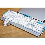 Drahtlose Tastatur Maus Set Ergonomische 2,4G Schnurlose Tastatur Maus Combo Für Desktop PC Home Games Büro Notebook (Schwarz, Weiß) (Farbe : Weiß)