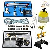 PROFI AIRBRUSH MAXXI ZUBEHÖR SET II, 2 Profi-Airbrush Pistolen inkl. 0,2/0,3/0,5mm Düsen und Nadeln Reinigungsbürsten set, Airbrush Adapter 10er SET, für alle AIRBRUSH-PISTOLE Cleaning Pot, Holder H2 Schnellkupplung OPTIMAL für alle Profis