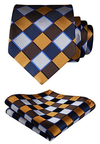 HISDERN Panuelo de corbata y panuelo de corbata a cuadros Wedding Tie para hombre Marron / azul