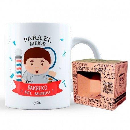 Mr Cool Taza en Caja Regalo en Mensaje para el Mejor Barbero ¡del Mundo, Cerámica, 15x10x5 cm