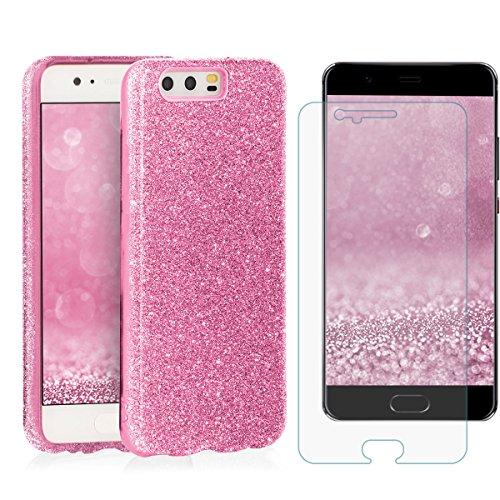 EGO ® Hülle Glitzer Schutzhülle + Panzerglas für Huawei P10, Rot Back Case Bumper Glänzend Transparente TPU Bling Weiche Glamour Handy Cover Lipgloss Pink + Glas