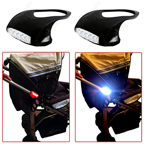 Passeggino luce Nero Confezione Doppia (2pezzi senza batterie) Silicone 7illuminazione LED luci Passeggino Top idee