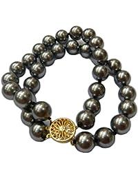 Schmuckwilly Muschelkernperlen Perlenarmband Perlen - Muschelkernperlen Armband 2-reihig grau Hochwertige mb0022