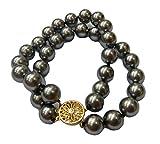 Schmuckwilly Muschelkernperlen Perlenarmband Perlen Armband 2-reihig grau Hochwertige 20cm mb2022-20 (12mm)