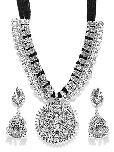 YouBella Latest Afghani Oxidised Jewellery Silver Plated Jewellery Set for Women (Black)(YBNK_5488)