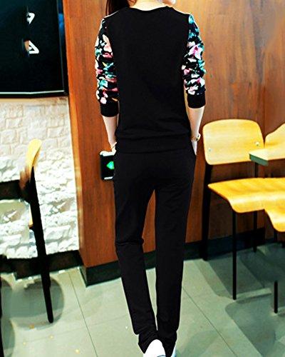 Femme 2 Pièces Ensemble Survêtement Col Rond Imprime De Lettre Sweat-Shirts + Pantalons Noir