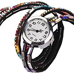 PromiseU Fashion Women Retro Beads Synthetic Leather Strap Watch