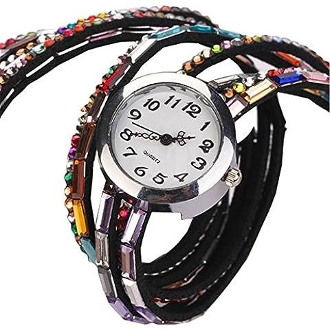 promiseu Fashion perline donne Retro Cinturino in pelle sintetica Black - Crystal Watch Quartz Pendant