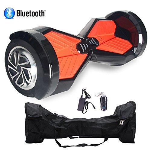 Cool&Fun Patinete Eléctrico Scooter Auto-equilibrio 2 Ruedas 8 Pulgadas LED (Negro rojo) (BlackR)