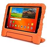Funda Infantil Cooper Cases (TM) Dynamo para Samsung Galaxy Tab 4 7.0 (T230) en Naranja + Protector de Pantalla gratuito (Ligera, absorción de impactos, Espuma EVA segura para los niños, Asa incorporada, y soporte para visionado)
