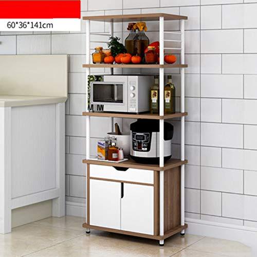 NAN Liang Mikrowelle Regal, Küche fahrbare Storage Trolley, Küchenschrank, 4 Regale + 1 Schrank, 60 * 36 * 141cm Nicht rosten (Farbe : Eiche) -