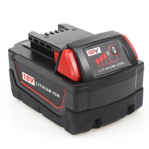 Waitley M18 18V 5.0Ah Ersatz-Lithium-Ionen-Akku für Milwaukee M18 M18B 18V Batterie Kompatibel mit M18B 48-11-1820 48-11-1850 48-11-1828 5a Akku