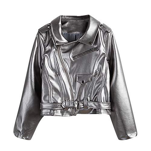 Deloito Damen Sexy Winter Kurz Parka Mantel Biker Motorrad Reißverschluss Leder Jacke Outwear...