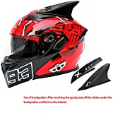 WLJBY Bluetooth Moto Casque intégral, Casque de Moto Flip-up Dual Visor Motocross Unisexe cyclomoteur personnalité Dot approuvé Animal Cornes décoration Casque de Moto Adulte,B,XL