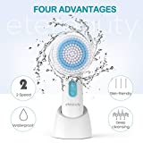 Gesichtsreinigungsbürste, ETEREAUTY 5 in 1 Wasserfest Gesichtsbürste mit 2 Stufige Rotations Geschwindigkeiten für Körper, Tiefenreinigung und Sanfte Exfoliation