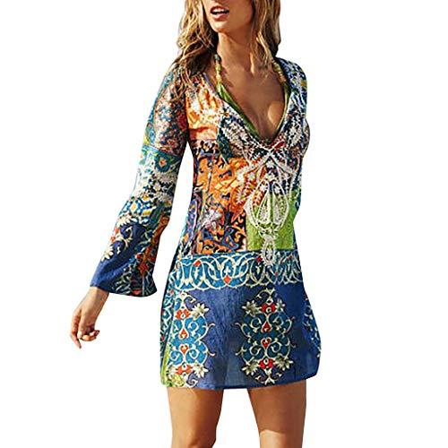 ❤HappyQn❤ Damen Strandkleid Bikini Cover up Bikini Kleid Chiffon Strandponcho Sommer Lose Kimono Cardigan Strand Damen Pareos & Strandkleider